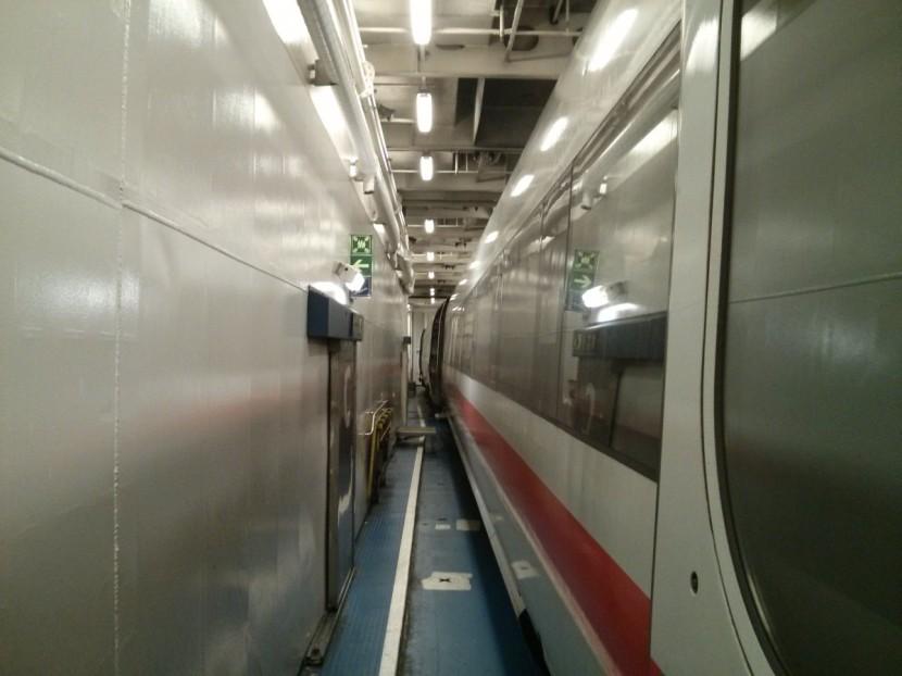 The Deutsche Bahn train inside the ferry!