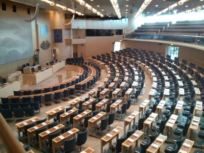 View from the public gallery in the Sverige Riksdag