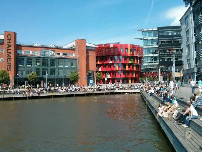 A typical summer lunch break at the Chalmers Lindholmen campus