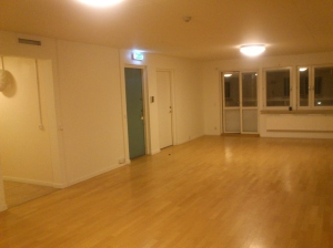 A view of the common space on each floor. The kitchen entrance is to the right of this picture