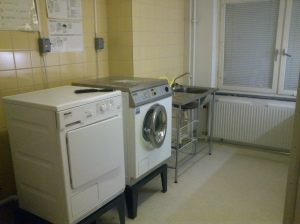 Common kitchen on every floor. The laundary room is attached to the kitchen