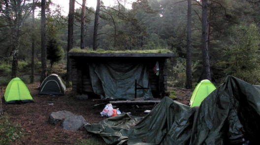The wind shelter, and our camps