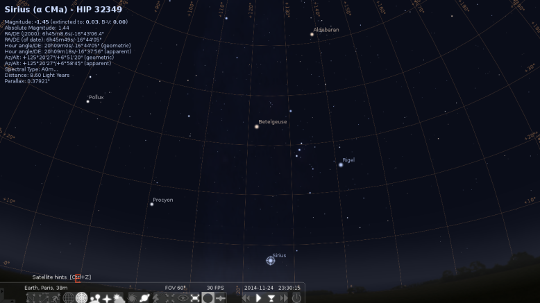 Stellarium, showing Sirius!