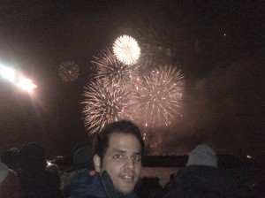 A glimpse of the fireworks, from the Opera house