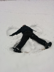 Another first: snow angel!