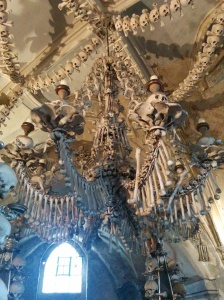 At the Bone Church: A chandelier made of bones
