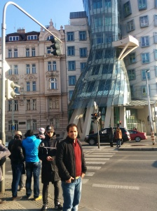 In front of the dancing house